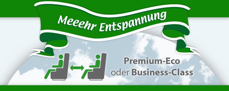 Nix-wie-weg Entspannung PLUS! Premium-Eco oder Business-Class